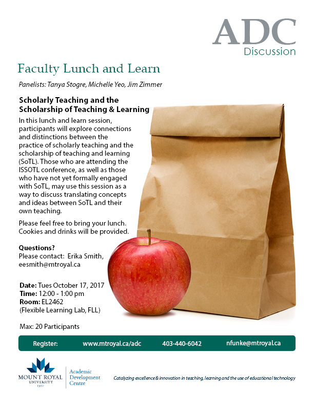 Faculty Lunch and Learn: Scholarly Teaching and the Scholarship of Teaching & Learning