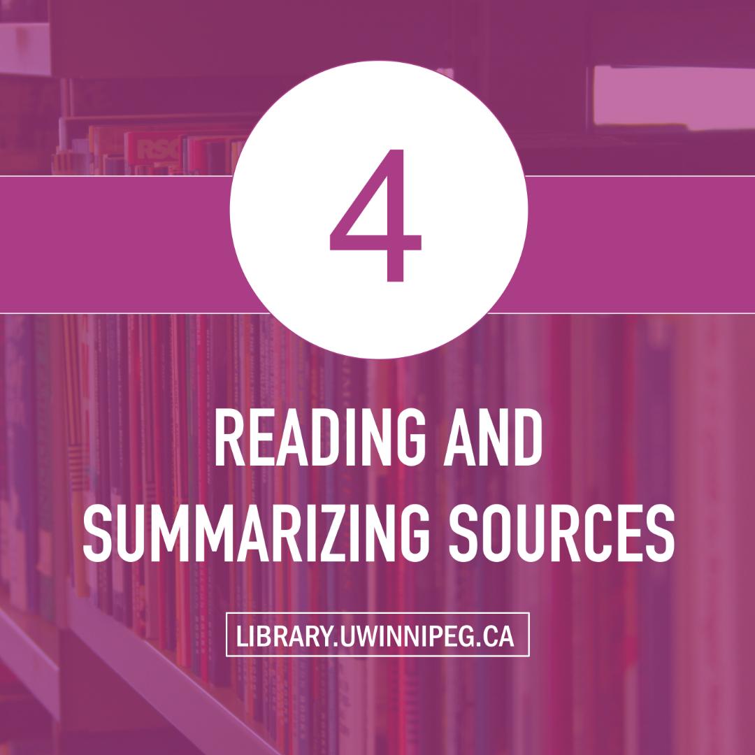 Reading and Summarizing Sources