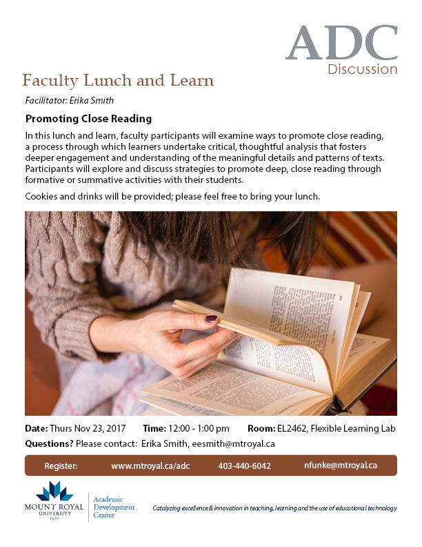 Faculty Lunch and Learn: Promoting Close Reading