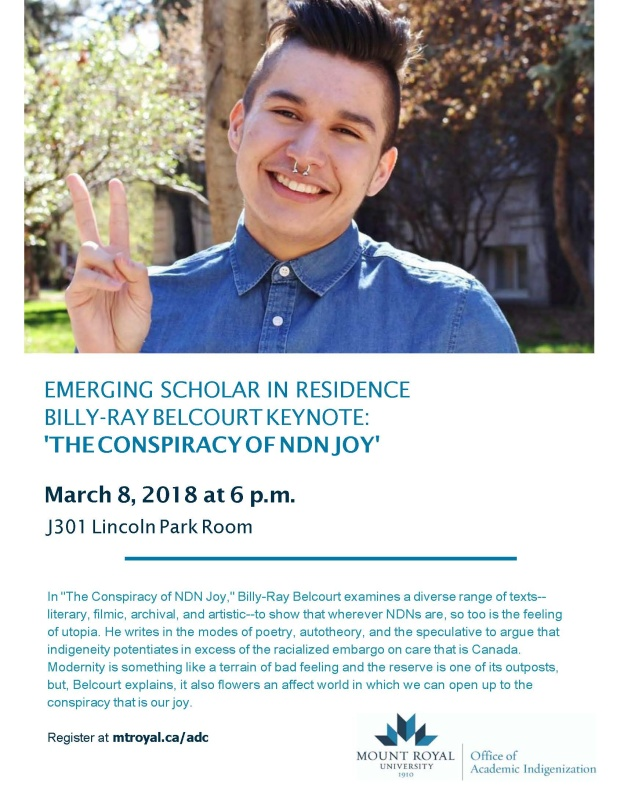 Emerging Scholar in Residence Billy-Ray Belcourt Keynote: 'The Conspiracy of Ndn Joy'