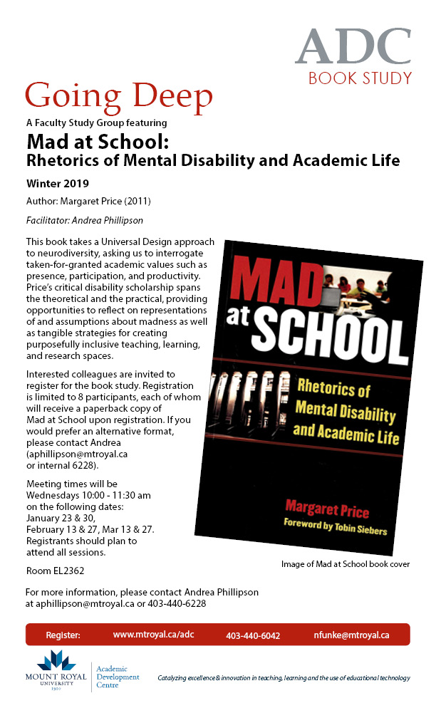 Going Deep Book Study: Mad at School: Rhetorics of Mental Disability and Academic Life, Winter 2019