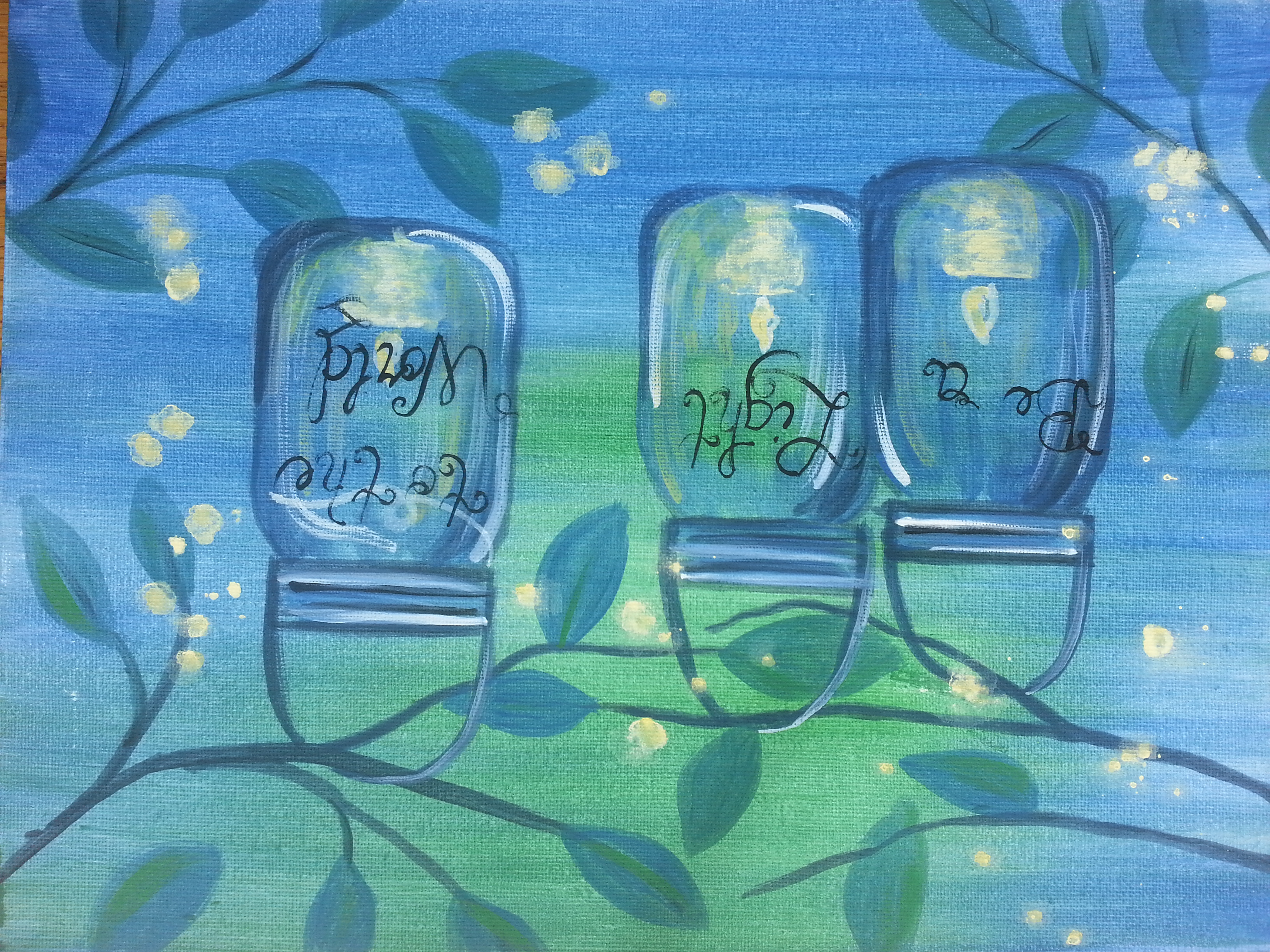 Virtual Paint Class - Fireflies and Candles