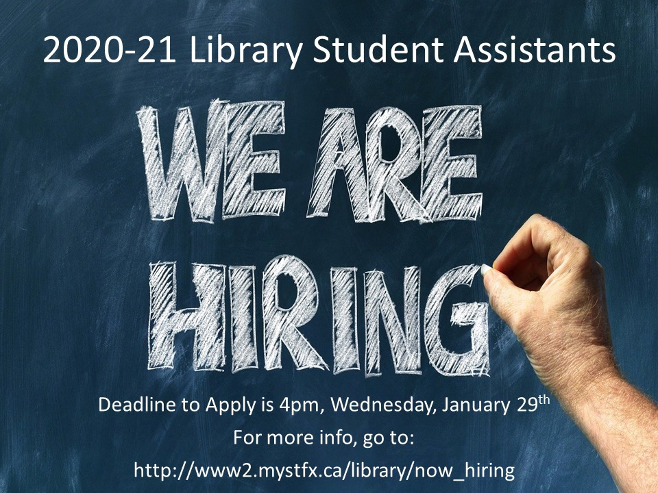Deadline to Apply for 2020-21 Library Student Assistant Positions